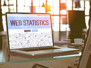Web Statistics - Closeup Landing Page in Doodle Design Style on Laptop Screen. On Background of Comfortable Working Place in Modern Office. Toned, Blurred Image. 3D Render.