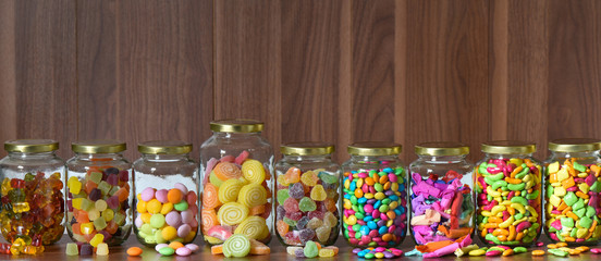 Sugary candy in a glass jar