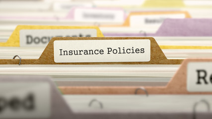 Insurance Policies Concept on File Label in Multicolor Card Index. Closeup View. Selective Focus. 3D Render.