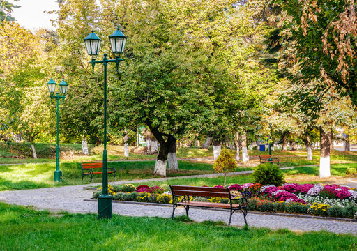 old city park with lantern