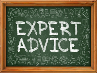 Expert Advice - Hand Drawn on Green Chalkboard with Doodle Icons Around. Modern Illustration with Doodle Design Style.