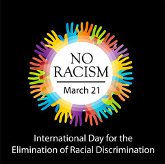 No racism graphic with colorful hands