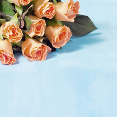roses on a blue painted background