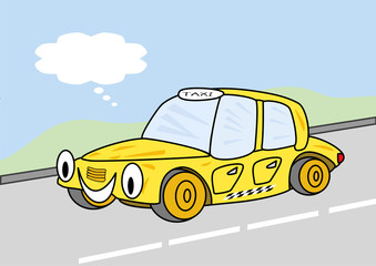 Wall Mural - happy taxi cartoon with text bubble