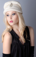 Beautiful Teenager in Vintage Hat and Makeup