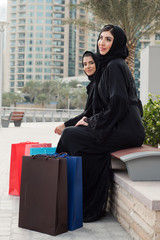 Middle Easetern Arab woman With Shopping Bags