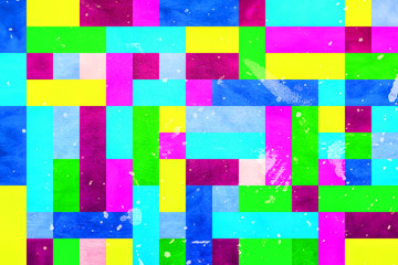 Abstract background illustration similar to pixels in vivid colors with added texture.