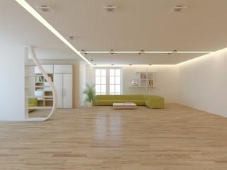 white modern interior design- 3d illustration