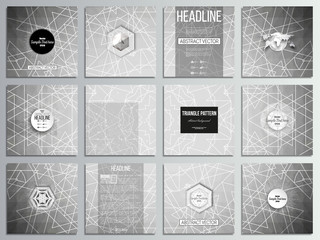 Set of 12 creative cards, square brochure template design. Sacred geometry, triangle design gray background. Abstract vector illustration