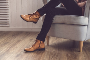 Men's classic brown shoes.
