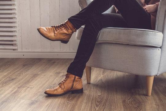 Men's classic brown shoes.