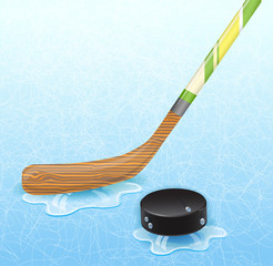 Hockey stick and hockey puck.