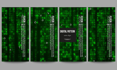 Set of modern flyers. Virtual reality, abstract technology background with green symbols, vector illustration.