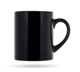 Black mug for coffee or tea isolated on white background