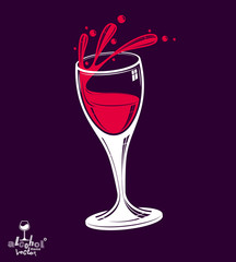 Alcohol theme vector art classic illustration of wine glass. 3d