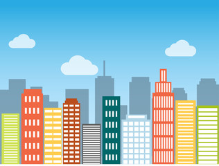 Minimal flat design modern vector illustration. Set of urban landscape, buildings and city life. Skylines in the daytime. Real estate background concept icon template for web or print