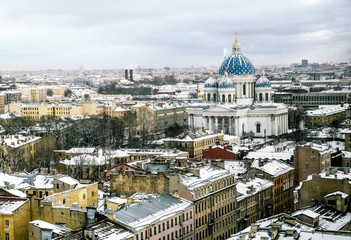 The view to the Trinity Izmailovsky Cathedral in St. Petersburg