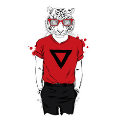 Animation tiger hipster wearing a T-shirt and pants. Vector illustration.