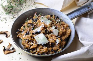 Mushroom Risotto on Vintage Pan