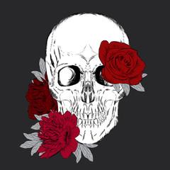 Printed roller blinds Watercolor Skull Hand-drawn skull. Skull and flowers. Vector illustration.