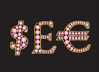 Currency Signs in Rose Quartz Jeweled Font with Gold Channels
