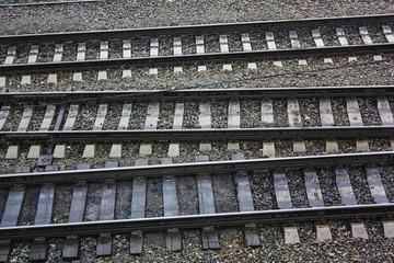parallel rail ways, close up