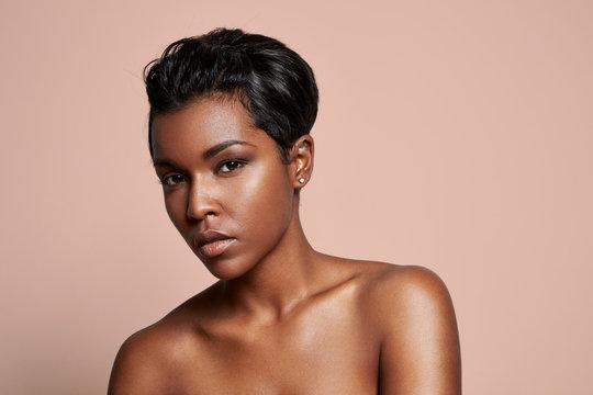 pretty black woman looking at camera