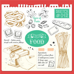 Food sketchbook with pasta sketch style. Italian homemade traditional food.