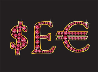 Currency Signs in Ruby Jeweled Font with Gold Channels