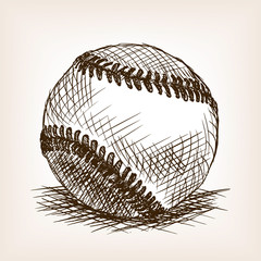Baseball ball hand drawn sketch style vector