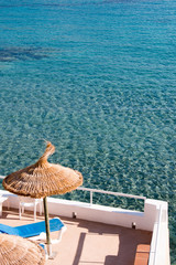 Turquoise water with terrace, Sant Elm, Mallorca