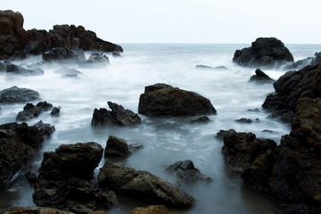 Wave breaking on the rock