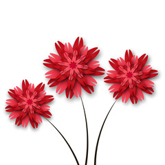 Three red paper flowers