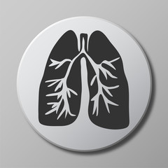 human lungs grey vector icon on round button with shadow
