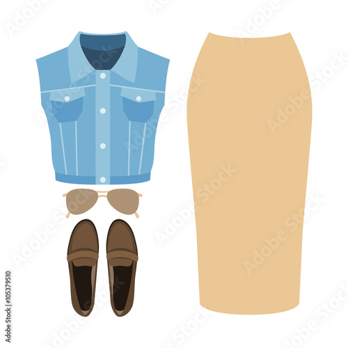 e3e82ff984b84 Set of trendy women's clothes. Outfit of woman denim vest coat, skirt and  accessories. Women's wardrobe. Vector illustration