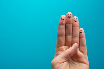 four smiling fingers that are very happy to be friends
