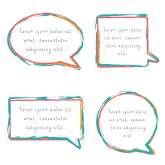 Speech bubble set with chalk pencil design in blue red and yellow colors. Collection of different type of text boxes in colorfull and youthful design.