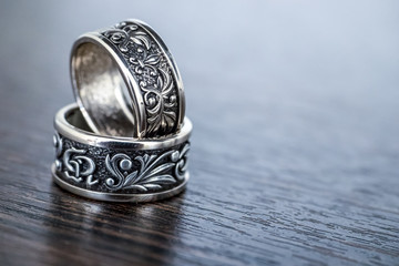 Close-up old silver rings