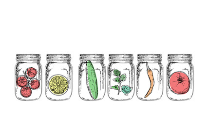 Vector illustration of jars with some healthy food in there
