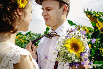 beautiful gorgeous bride and stylish handsome groom, rustic coup