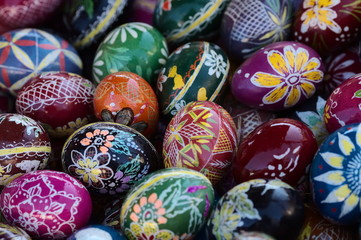 Happy easter colorful decorative eggs