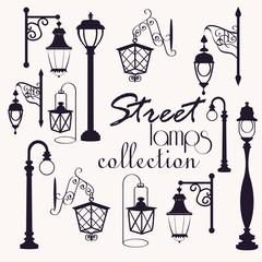 retro and modern street lanterns