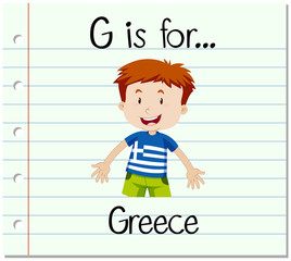Flashcard letter G is for Greece