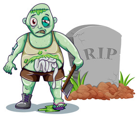 Green zombie with axe at the gravestone