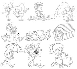 Outline people doing different activities