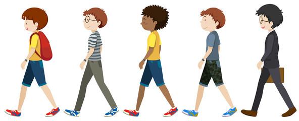 Boys and men walking