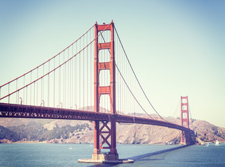 Retro stylized Golden Gate Bridge in San Francisco, USA