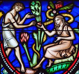 Photo sur Plexiglas Vitrail Adam and Eve and the Original Sin