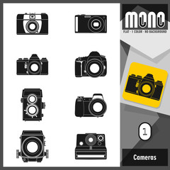 Set of 8 photographic camera flat monochromatic icons