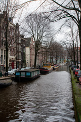 View of one of the canals of  Amsterdam